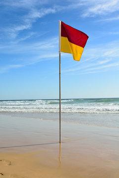 Swimming area boundary flag in Australia.