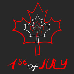 Canada Day logo with white and red leaves and date on gray background