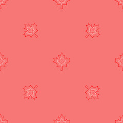 Seamless pattern of Canada Day logo with white and red leaves and date on coral background