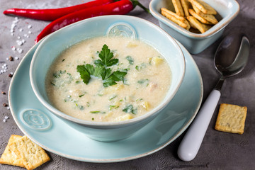 Chicken and potato chowder soup with green in bowl