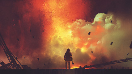 Aluminium Prints Grandfailure brave firefighter with axe standing in front of frightening explosion, digital art style, illustration painting
