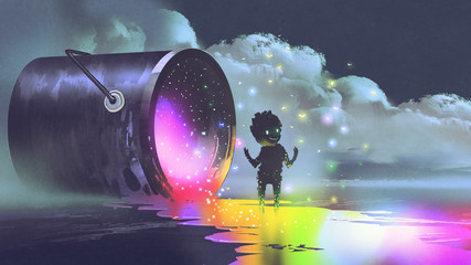 fantasy illustration showing a big bucket lying on surface and a cute creature standing on puddle of colorful paint, digital art style Wall mural