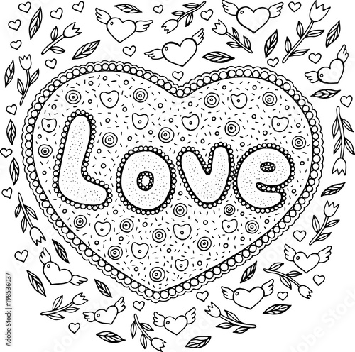 """Coloring page for adults with mandala and love word ..."