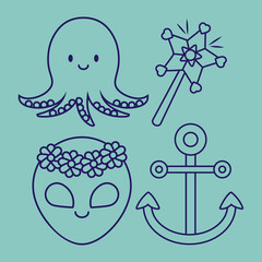 octopus and cute related icons over blue background, colorful design. vector illustration
