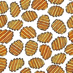 Seamless of Corrugated Potato Chips.Wave Chip. Snack Pattern.. Fried Potatoes. Corrugated Golden Chips.Fast Food Design. Realistic Hand Drawn Illustration. Savoyar Doodle Style.