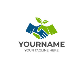 Handshake and sprout logo template. Cooperation, deal and growth of business vector design. Handshake of people and plant illustration