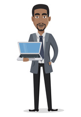 African American business man cartoon character holding laptop