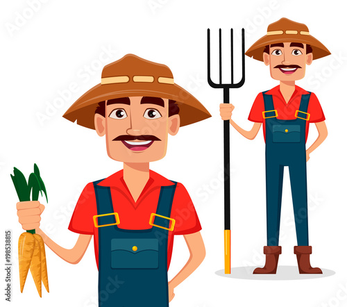 Farmer cartoon character, set with carrots and with pitchfork.