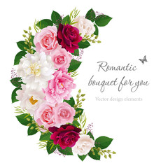 Romantic semicircle garland frame with pink, white and red roses, pink and white peonies. Can be used as invitation for wedding, birthday, thank you card, Valentine's Day and other holiday. EPS 10