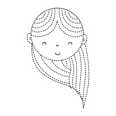 dotted shape happy woman head with haistyle design