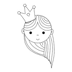 dotted shape happy woman head with crown and hairstyle