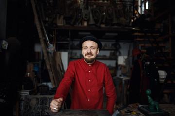 Portrait of an artist in the studio