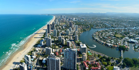 View over Surfers Paradise and Nerang river in Queensland, Australia.