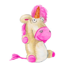Childrens colorful toy. Games for children. Unicorn. Watercolor Pink Unicorn illustration isolated on white background.