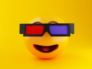 3d Emoji with 3d eyeglasses. Cinema concept.