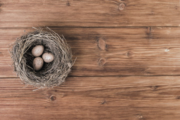 Nest or bird nest over old planks.Top view, copy space.