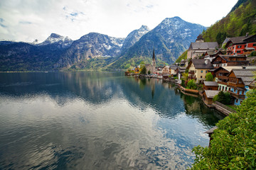 Hallstatt small picturesque village situated on Hallstaetter Lake, Austria, Upper Austria.
