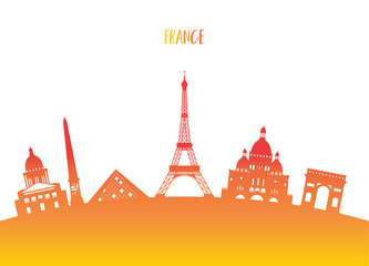 France Landmark Global Travel And Journey Paper Background Vector Design Templateused For Your