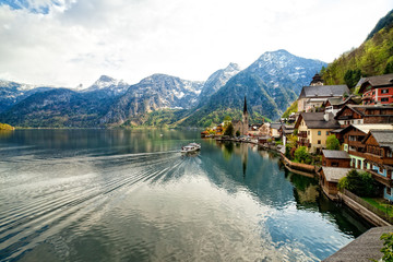 Hallstatt mountain village with Hallstatter Lake in the Austrian Alps