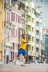 Soccer player training in the city of Recife, Pernambuco, Brazil