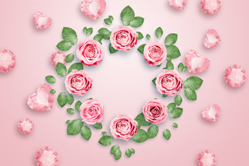 Pink roses and green leaves against a pink background. flat lay, copy space, Mixed media, top view.