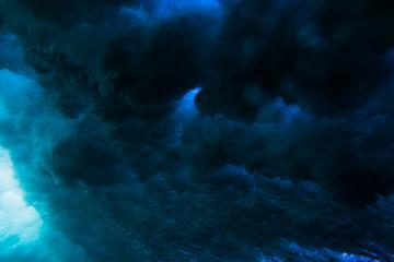 Waves underwater. Blue ocean in underwater