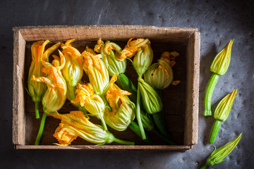 Preparation for crispy fried zucchini flower made of pancake batter