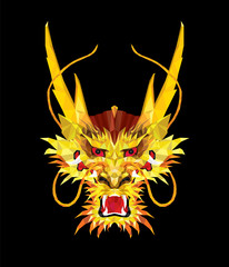 Aggressive Asian Dragon in low polygon style, Geometric pattern, illustrator dragon face EPS 10