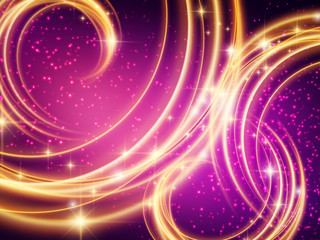 Background of purple and gold swirling lights