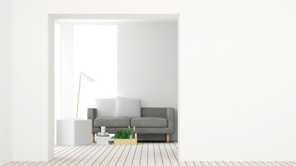 Interior connecting wall empt simple space and work space background - 3d rendering minimal japanese