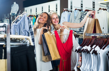 women shopping new clothes