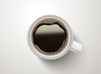 Top view of black coffee