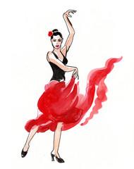 Watercolor sketch of a flamenco dancer