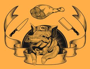 Butchery shop promotion logo