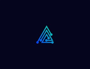 Abstract letter A Tech logo template