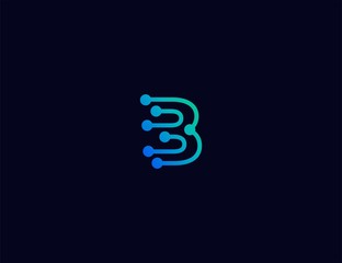 Abstract letter B Tech logo template