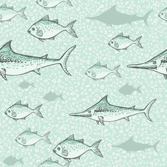 Seamless background of drawn sketches of fish. Hand-drawn illustration