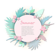 Tropical paper palm leaves round frame. Summer tropical leaf. Origami exotic hawaiian jungle, summertime background