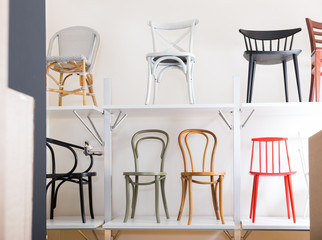 Variety of chairs in store