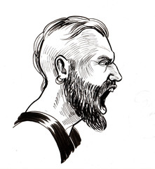 Ink black and white illustration of an angry viking