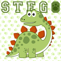 Dino cartoon vector on footprint background. Eps 10