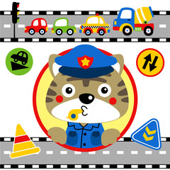 Traffic cop cartoon with vehicles, traffic signs. Eps 10