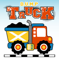 Dump truck cartoon. Eps 10