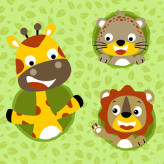Set of animals cartoon on leaves background. Eps 10