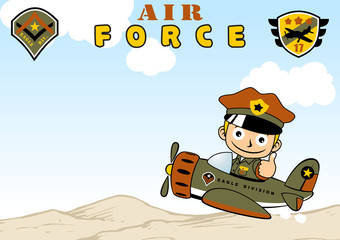 Pilot cartoon on military plane. Eps 10