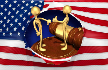 Law Concept The Original 3D Characters Illustration On A Gavel Stand Thumbs Up And Thumbs Down Gesture