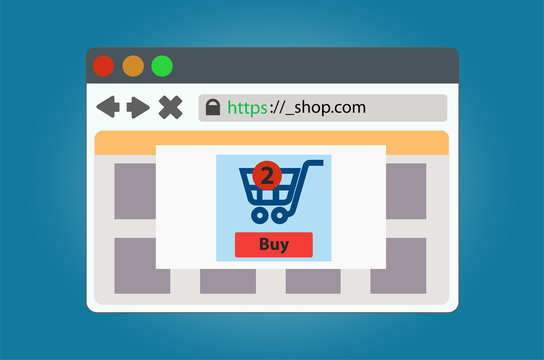 Online store window open in the browser. Isolated on background.