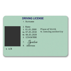 plastic driver licence