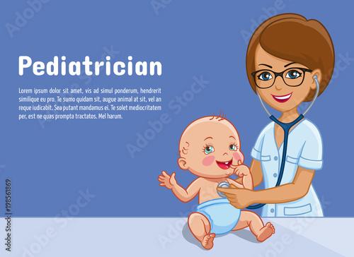 b8c3cbeab Pediatrician and child baby vector cartoon illustration for ...