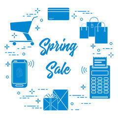 Spring sale. Shopping icons.